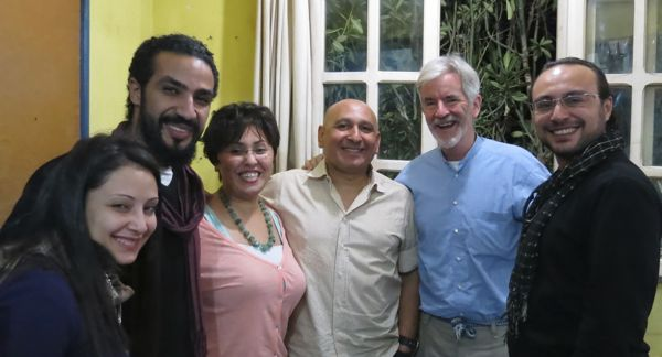 Khaled Hafez with a few of his studio colleagues in Cairo.  From left, Fatma Sabry, Osama A'Moneim, Taghrid Al Sabban and Ahmed El Shaer.  Mark Rendeiro Photo