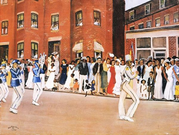 "Parade on Hammond Street, 1935.  By the ""Harlem Renaissance"" painter Alan Crite (1910 - 2007."