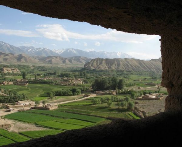 Qais Akbar Omar's view of the Bamyan plain in Central Afghanistan, from one of the caves behind the ancient Buddha statutes.  The author and his family took refuge here for a couple of months in 2006, in flight from the fighting in Kabul.