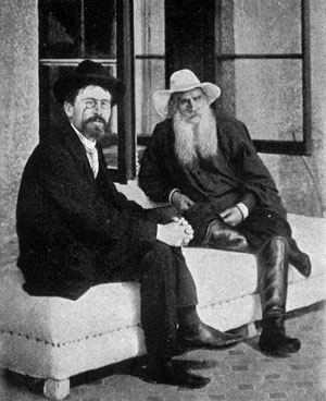 "Anton Chekhov on a visit with Lev Tolstoy c. 1901. "" ... I have loved no man the way I have loved him. I am not a believer, but of all beliefs I consider his the closest to mine and most suitable for me."""
